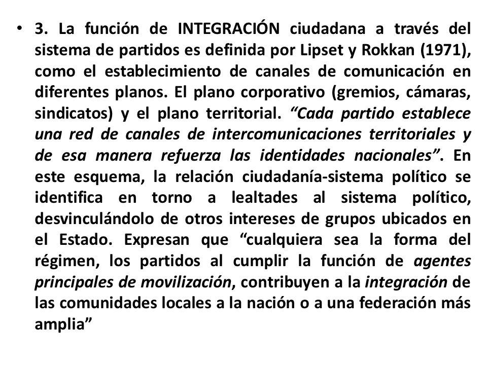 3. La función de INTEGRACIÓN ciudadana a través del sistema de partidos es definida por Lipset y Rokkan (1971), como el establecimiento de canales de