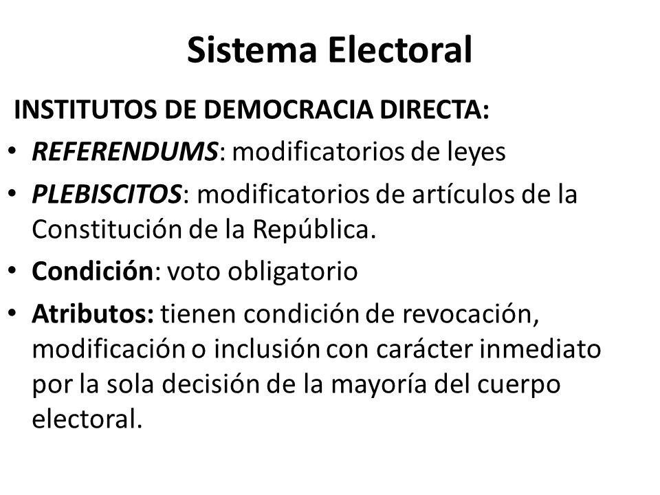Sistema Electoral INSTITUTOS DE DEMOCRACIA DIRECTA: REFERENDUMS: modificatorios de leyes PLEBISCITOS: modificatorios de artículos de la Constitución d