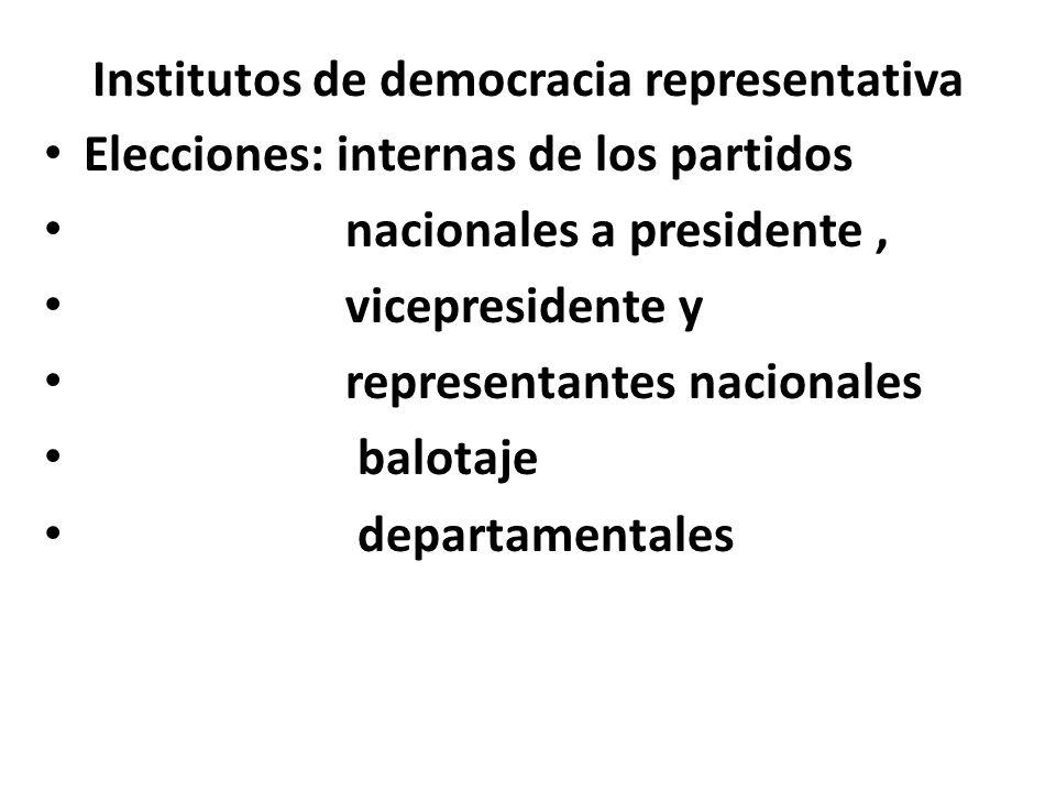 Institutos de democracia representativa Elecciones: internas de los partidos nacionales a presidente, vicepresidente y representantes nacionales balot