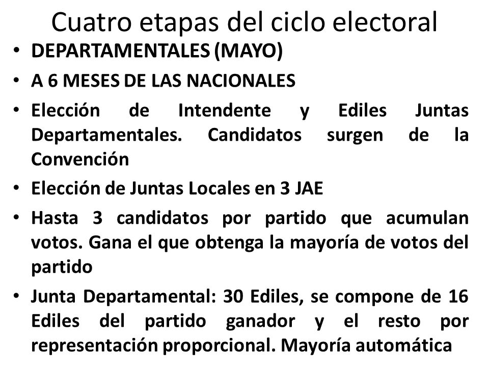 DEPARTAMENTALES (MAYO) A 6 MESES DE LAS NACIONALES Elección de Intendente y Ediles Juntas Departamentales. Candidatos surgen de la Convención Elección