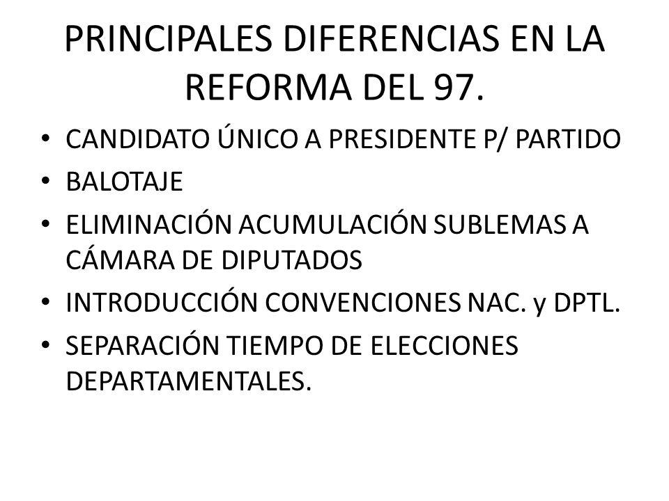 PRINCIPALES DIFERENCIAS EN LA REFORMA DEL 97. CANDIDATO ÚNICO A PRESIDENTE P/ PARTIDO BALOTAJE ELIMINACIÓN ACUMULACIÓN SUBLEMAS A CÁMARA DE DIPUTADOS