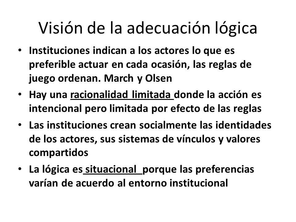 Visión de la adecuación lógica Instituciones indican a los actores lo que es preferible actuar en cada ocasión, las reglas de juego ordenan. March y O
