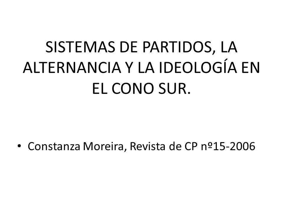 SISTEMAS DE PARTIDOS, LA ALTERNANCIA Y LA IDEOLOGÍA EN EL CONO SUR. Constanza Moreira, Revista de CP nº15-2006