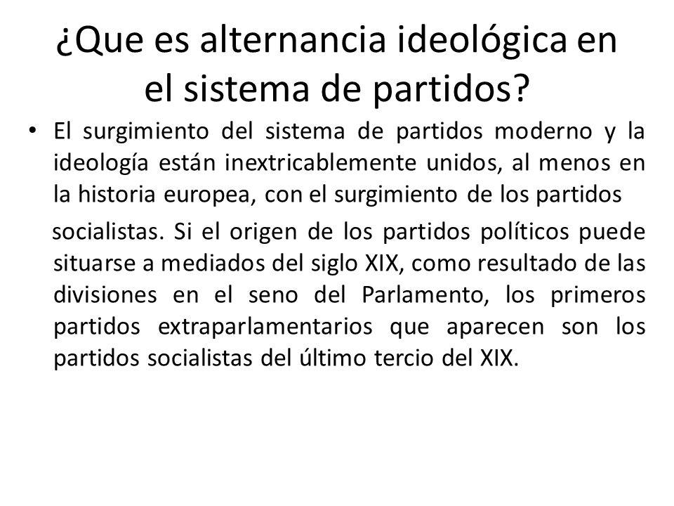 ¿Que es alternancia ideológica en el sistema de partidos? El surgimiento del sistema de partidos moderno y la ideología están inextricablemente unidos