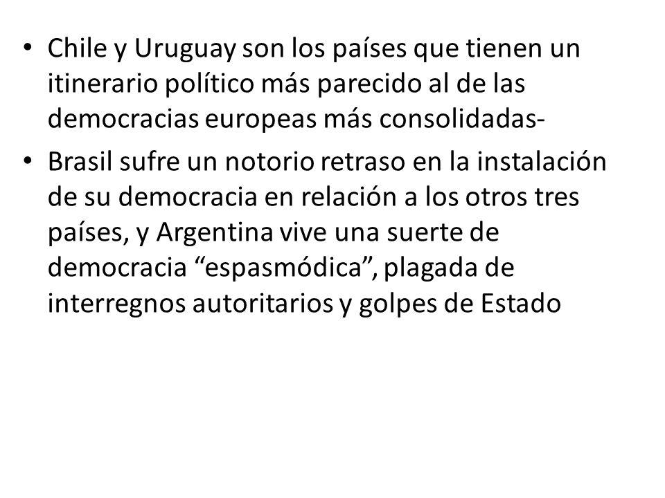 Chile y Uruguay son los países que tienen un itinerario político más parecido al de las democracias europeas más consolidadas- Brasil sufre un notorio