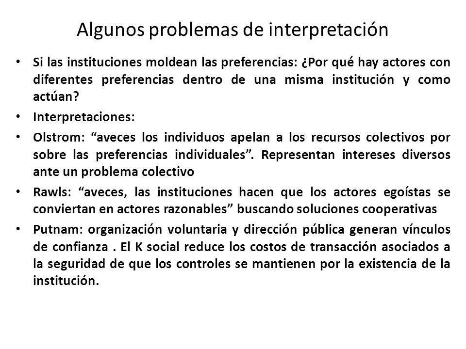 Algunos problemas de interpretación Si las instituciones moldean las preferencias: ¿Por qué hay actores con diferentes preferencias dentro de una mism
