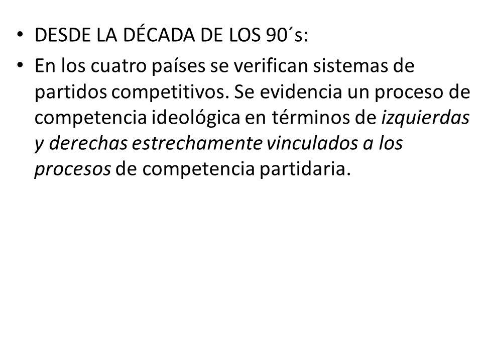 DESDE LA DÉCADA DE LOS 90´s: En los cuatro países se verifican sistemas de partidos competitivos. Se evidencia un proceso de competencia ideológica en