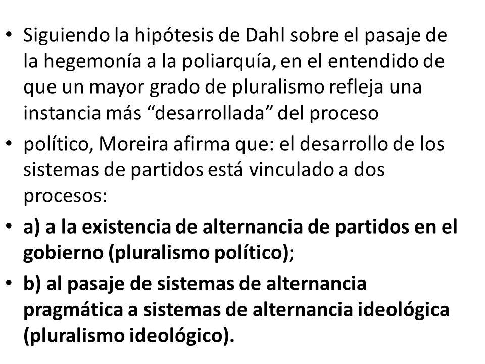 Siguiendo la hipótesis de Dahl sobre el pasaje de la hegemonía a la poliarquía, en el entendido de que un mayor grado de pluralismo refleja una instan