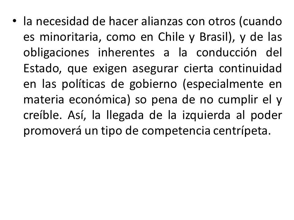 la necesidad de hacer alianzas con otros (cuando es minoritaria, como en Chile y Brasil), y de las obligaciones inherentes a la conducción del Estado,