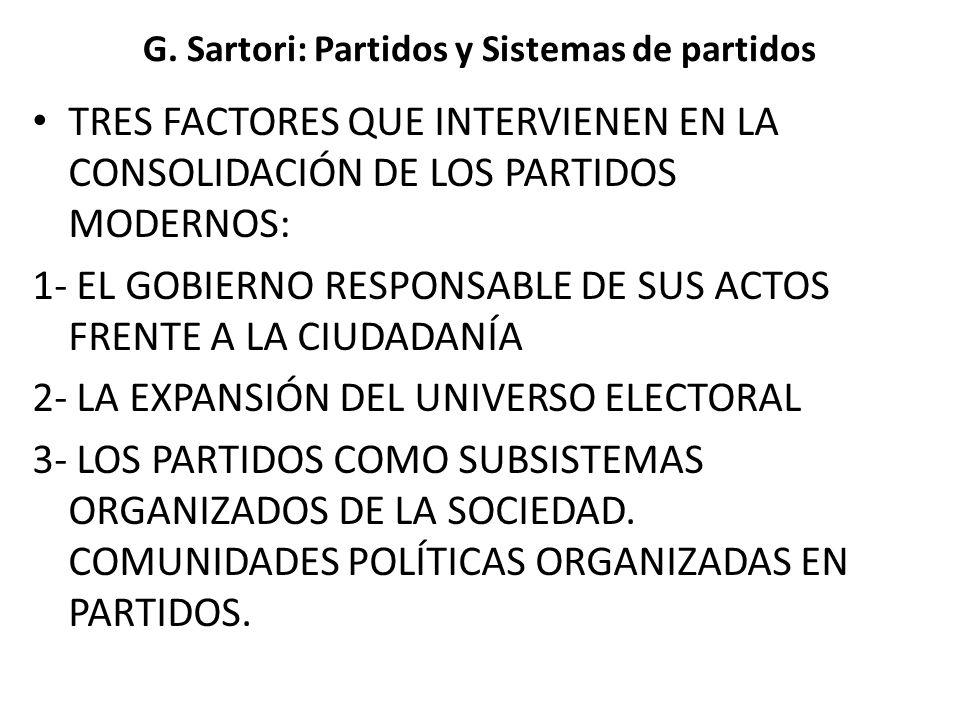 G. Sartori: Partidos y Sistemas de partidos TRES FACTORES QUE INTERVIENEN EN LA CONSOLIDACIÓN DE LOS PARTIDOS MODERNOS: 1- EL GOBIERNO RESPONSABLE DE