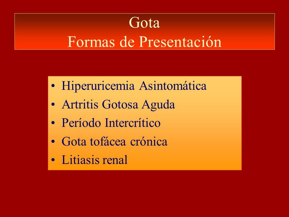 Gota Formas de Presentación Hiperuricemia Asintomática Artritis Gotosa Aguda Período Intercrítico Gota tofácea crónica Litiasis renal