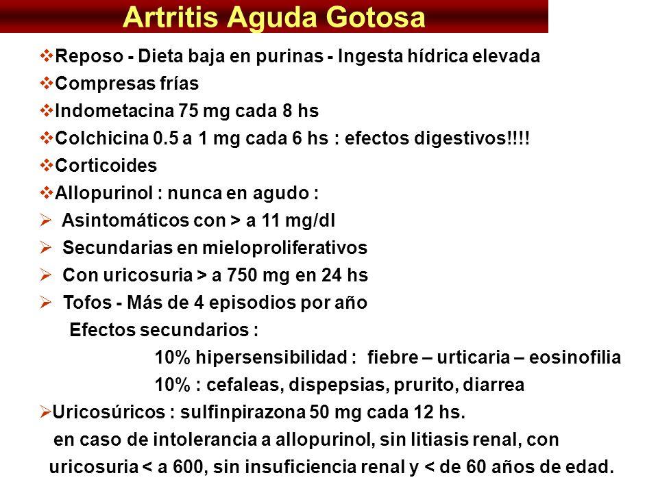 Artritis Aguda Gotosa Reposo - Dieta baja en purinas - Ingesta hídrica elevada Compresas frías Indometacina 75 mg cada 8 hs Colchicina 0.5 a 1 mg cada