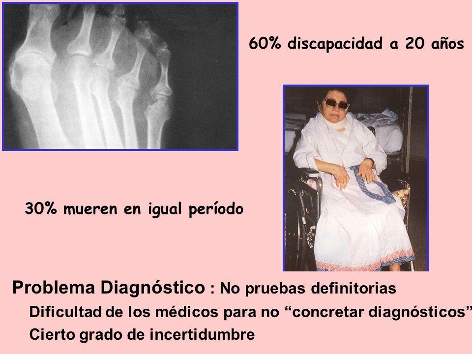 60% discapacidad a 20 años Problema Diagnóstico : No pruebas definitorias Dificultad de los médicos para no concretar diagnósticos Cierto grado de inc