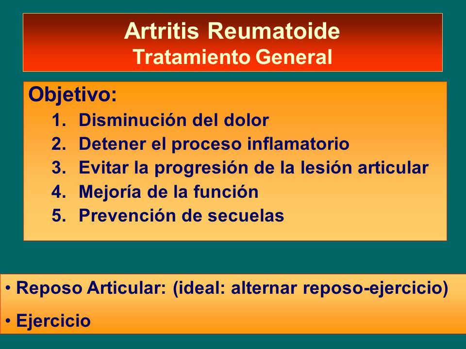 Artritis Reumatoide Tratamiento General Objetivo: 1.Disminución del dolor 2.Detener el proceso inflamatorio 3.Evitar la progresión de la lesión articu