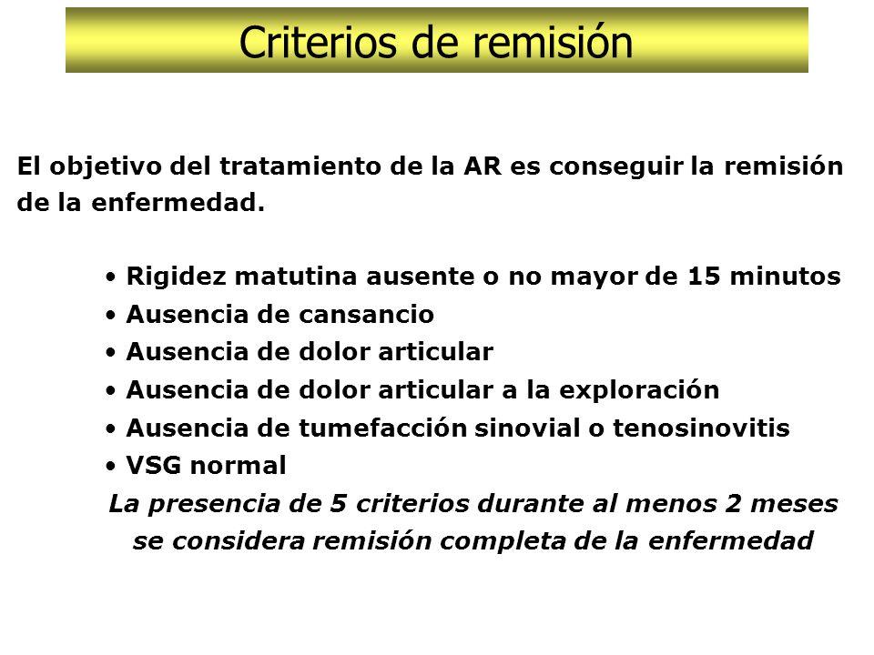 Criterios de respuesta al tratamiento El objetivo del tratamiento de la AR es conseguir la remisión de la enfermedad. Rigidez matutina ausente o no ma