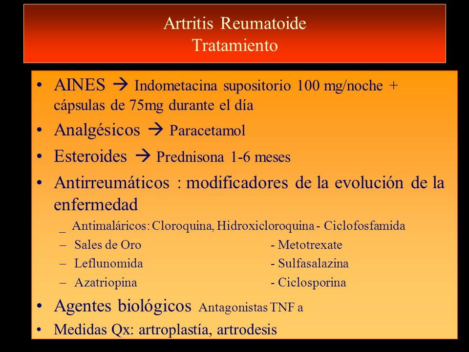 Artritis Reumatoide Tratamiento AINES Indometacina supositorio 100 mg/noche + cápsulas de 75mg durante el día Analgésicos Paracetamol Esteroides Predn