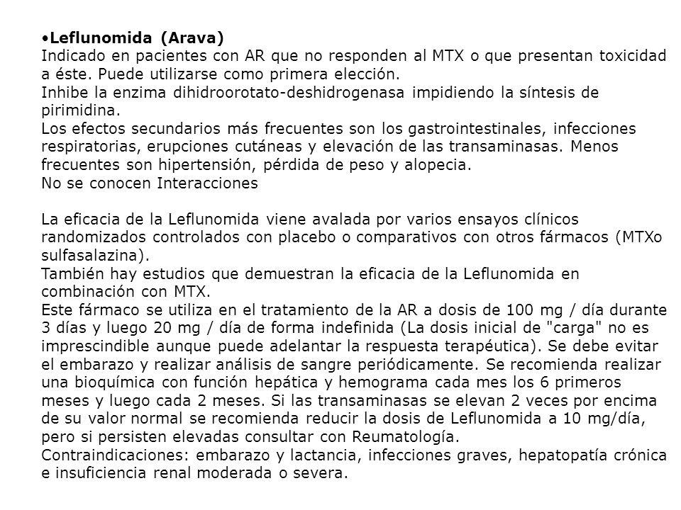 Leflunomida (Arava) Indicado en pacientes con AR que no responden al MTX o que presentan toxicidad a éste. Puede utilizarse como primera elección. Inh