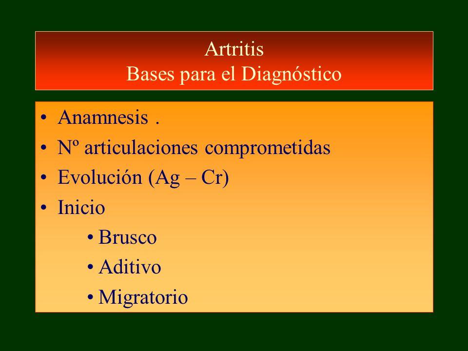 Artritis Bases para el Diagnóstico Anamnesis. Nº articulaciones comprometidas Evolución (Ag – Cr) Inicio Brusco Aditivo Migratorio