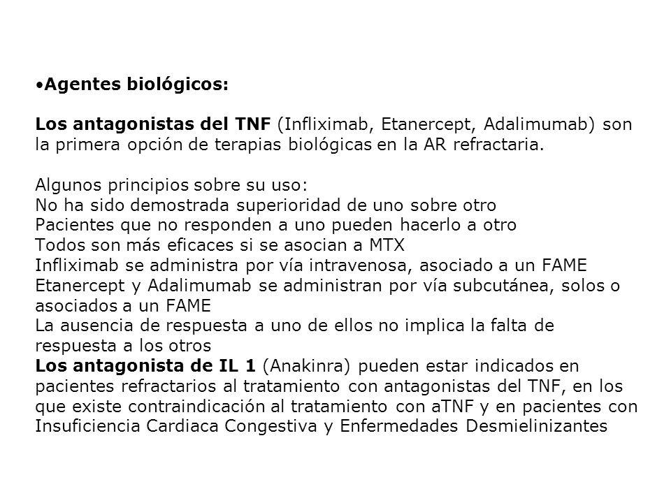 Agentes biológicos: Los antagonistas del TNF (Infliximab, Etanercept, Adalimumab) son la primera opción de terapias biológicas en la AR refractaria. A