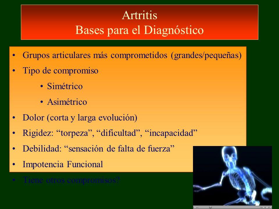 Artritis Bases para el Diagnóstico Grupos articulares más comprometidos (grandes/pequeñas) Tipo de compromiso Simétrico Asimétrico Dolor (corta y larg