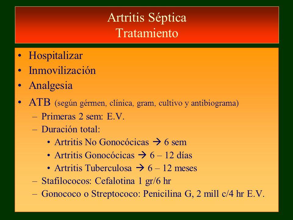 Artritis Séptica Tratamiento Hospitalizar Inmovilización Analgesia ATB (según gérmen, clínica, gram, cultivo y antibiograma) –Primeras 2 sem: E.V. –Du