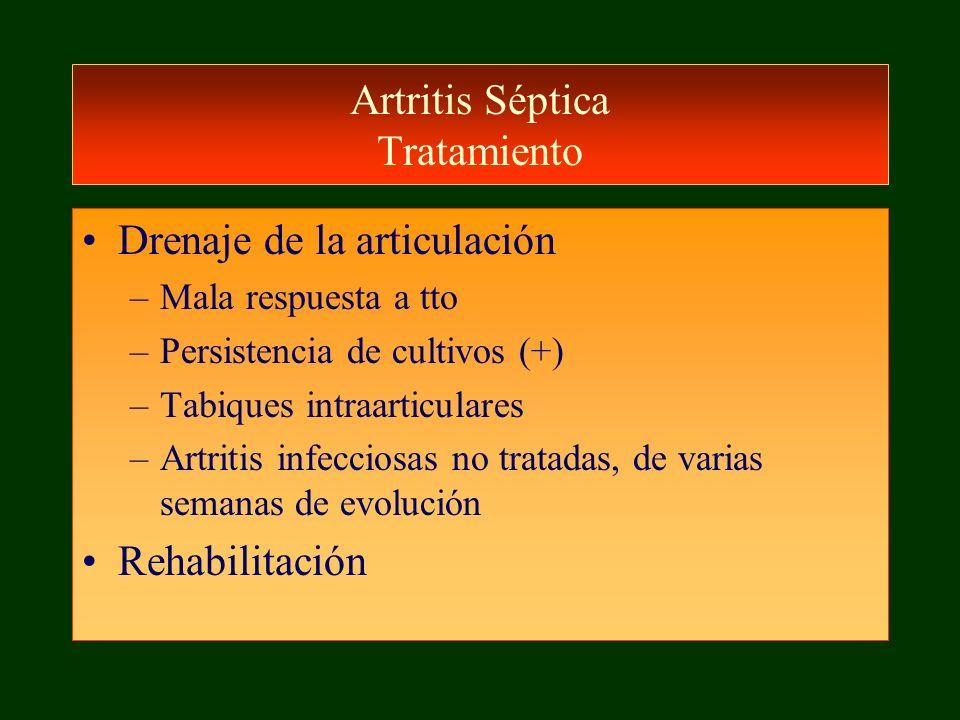 Artritis Séptica Tratamiento Drenaje de la articulación –Mala respuesta a tto –Persistencia de cultivos (+) –Tabiques intraarticulares –Artritis infec