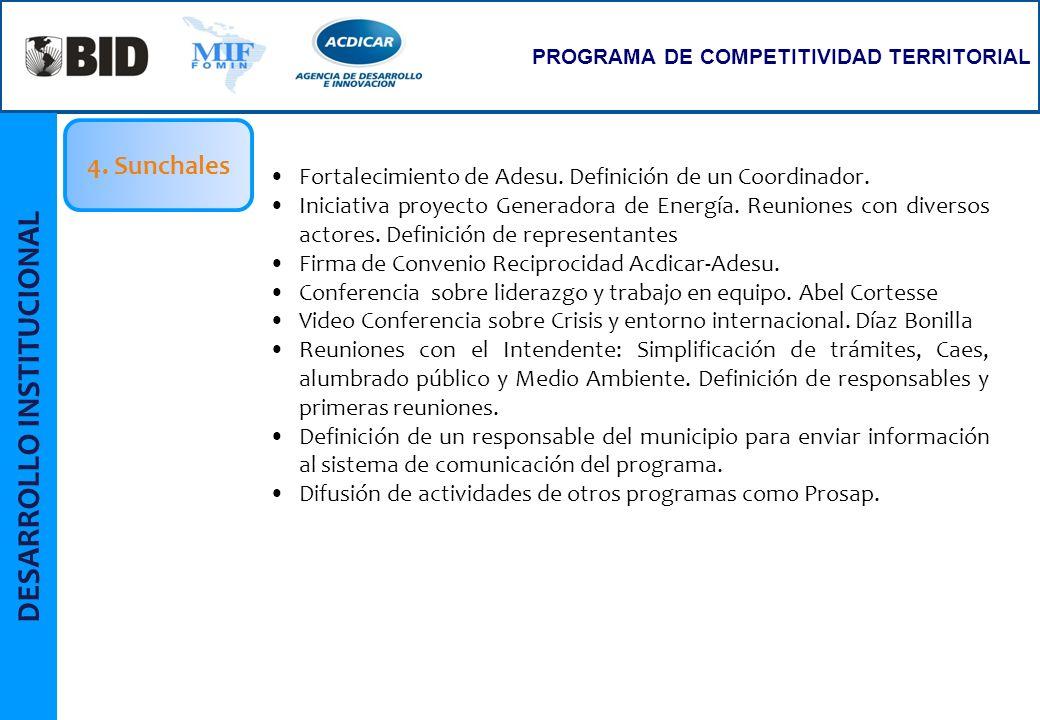 PROGRAMA DE COMPETITIVIDAD TERRITORIAL Fortalecimiento de Adesu. Definición de un Coordinador. Iniciativa proyecto Generadora de Energía. Reuniones co