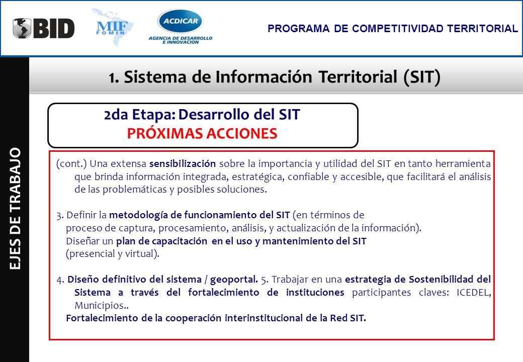 1. Sistema de Información Territorial (SIT) EJES DE TRABAJO PROGRAMA DE COMPETITIVIDAD TERRITORIAL 2da Etapa: Desarrollo del SIT PRÓXIMAS ACCIONES (co