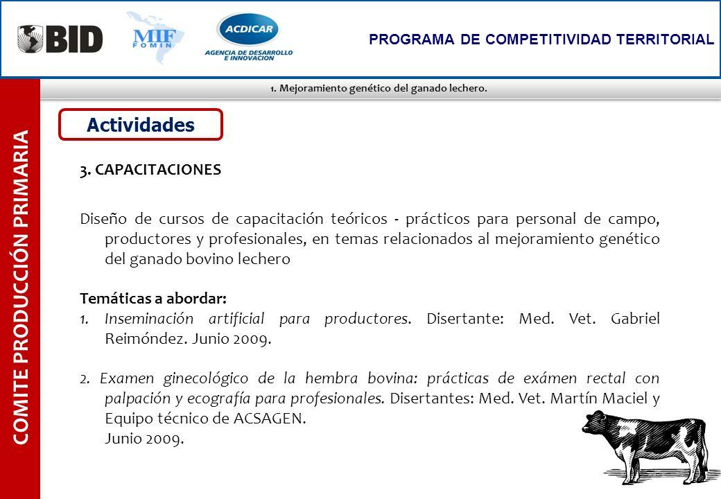 1. Mejoramiento genético del ganado lechero. COMITE PRODUCCIÓN PRIMARIA PROGRAMA DE COMPETITIVIDAD TERRITORIAL 3. CAPACITACIONES Diseño de cursos de c