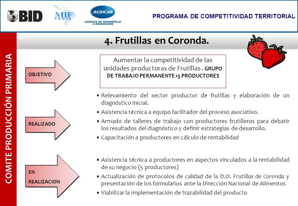 4. Frutillas en Coronda. COMITE PRODUCCIÓN PRIMARIA PROGRAMA DE COMPETITIVIDAD TERRITORIAL Relevamiento del sector productor de frutillas y elaboració