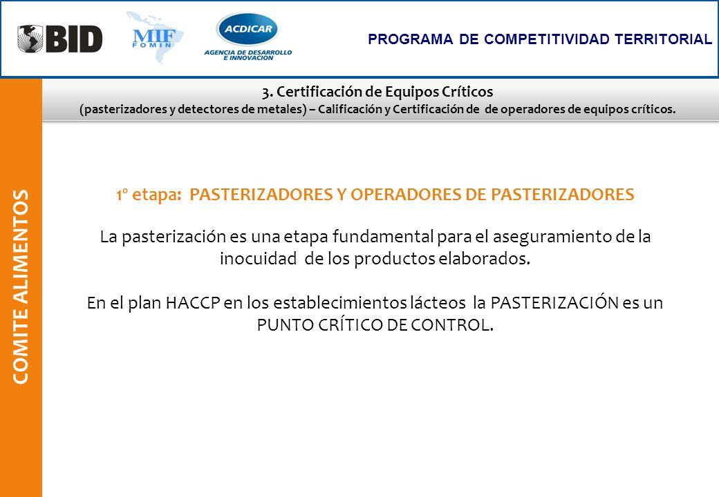3. Certificación de Equipos Críticos (pasterizadores y detectores de metales) – Calificación y Certificación de de operadores de equipos críticos. 3.