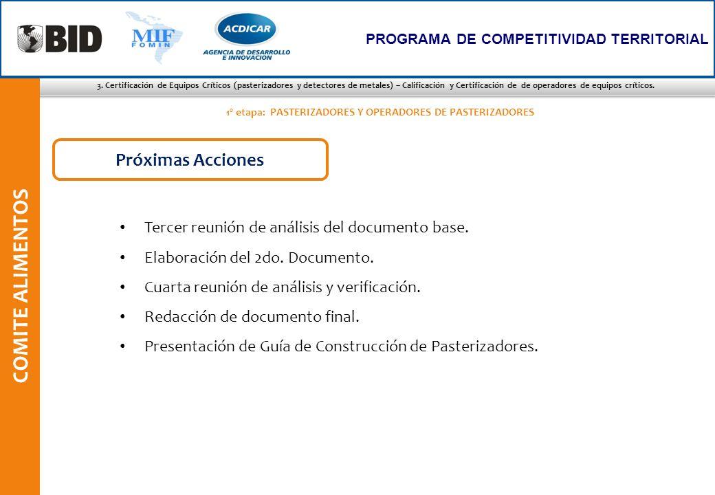 3. Certificación de Equipos Críticos (pasterizadores y detectores de metales) – Calificación y Certificación de de operadores de equipos críticos. COM