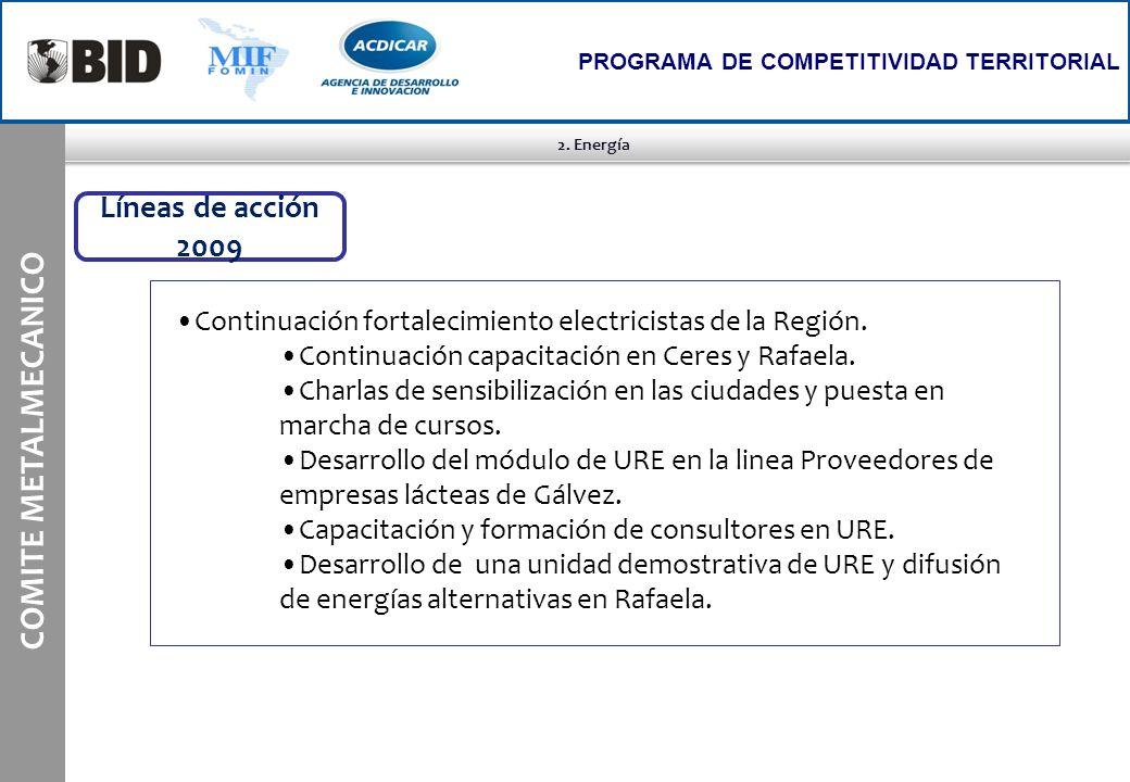 2. Energía COMITE METALMECANICO PROGRAMA DE COMPETITIVIDAD TERRITORIAL Líneas de acción 2009 Continuación fortalecimiento electricistas de la Región.