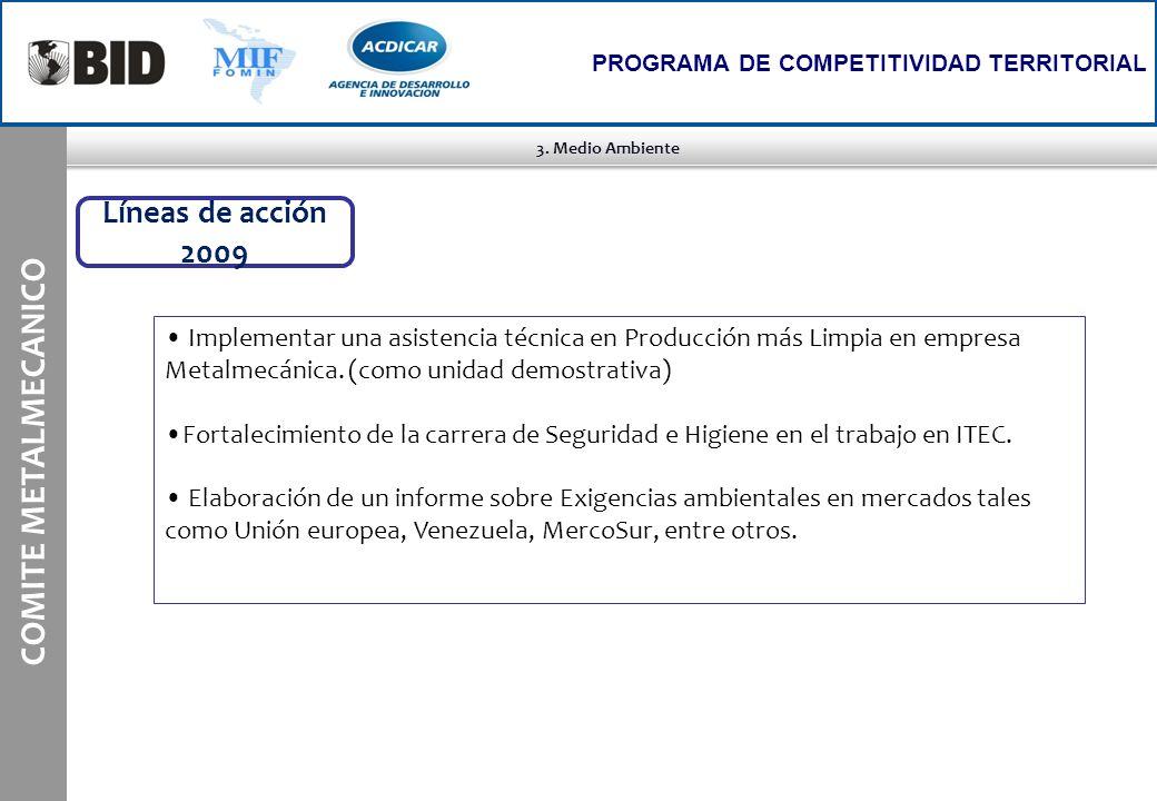 3. Medio Ambiente COMITE METALMECANICO PROGRAMA DE COMPETITIVIDAD TERRITORIAL Implementar una asistencia técnica en Producción más Limpia en empresa M