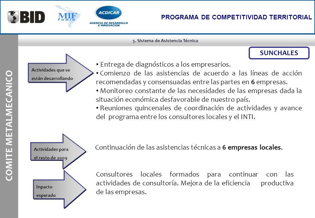 5. Sistema de Asistencia Técnica COMITE METALMECANICO PROGRAMA DE COMPETITIVIDAD TERRITORIAL Actividades que se están desarrollando SUNCHALES Continua