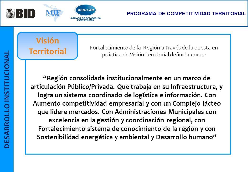 DESARROLLO INSTITUCIONAL PROGRAMA DE COMPETITIVIDAD TERRITORIAL Región consolidada institucionalmente en un marco de articulación Público/Privada. Que