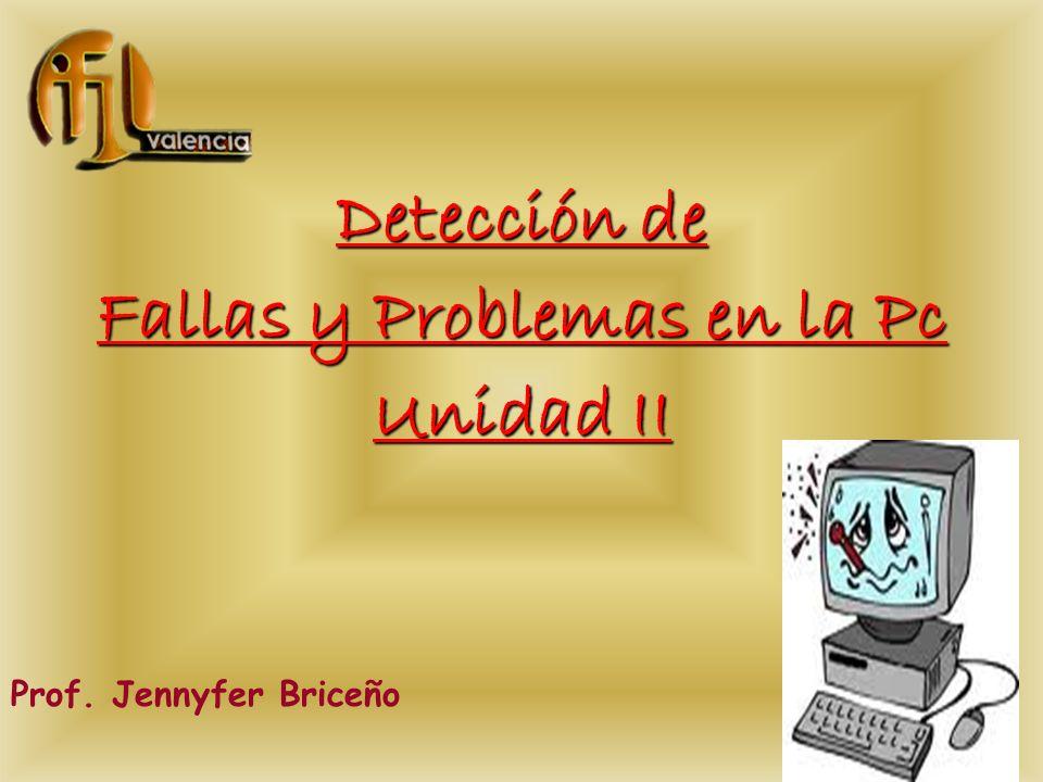 Detección de Fallas y Problemas en la Pc Unidad II Prof. Jennyfer Briceño
