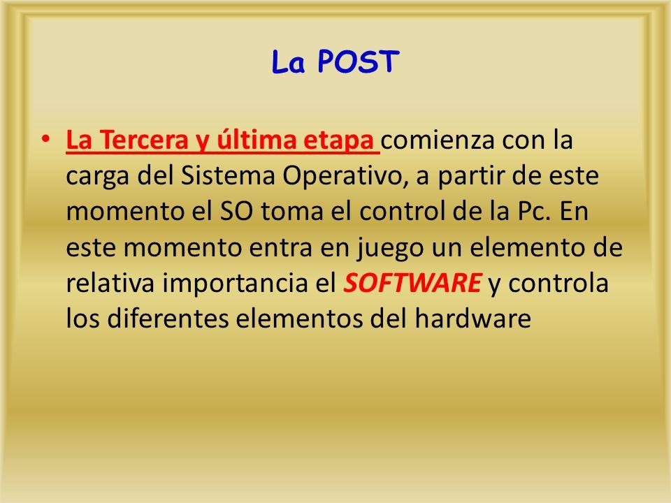 La Tercera y última etapa comienza con la carga del Sistema Operativo, a partir de este momento el SO toma el control de la Pc.