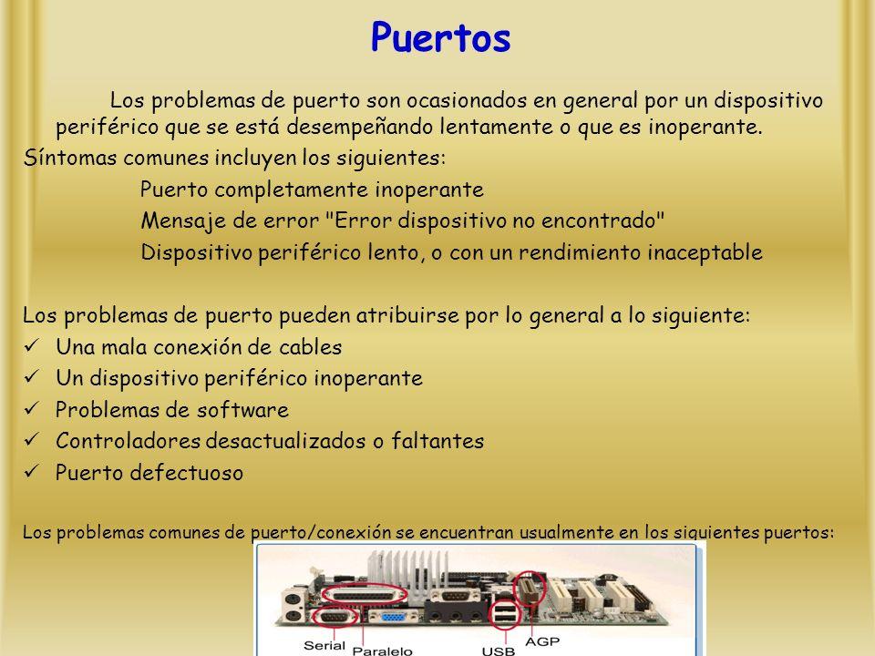 Puertos Los problemas de puerto son ocasionados en general por un dispositivo periférico que se está desempeñando lentamente o que es inoperante.