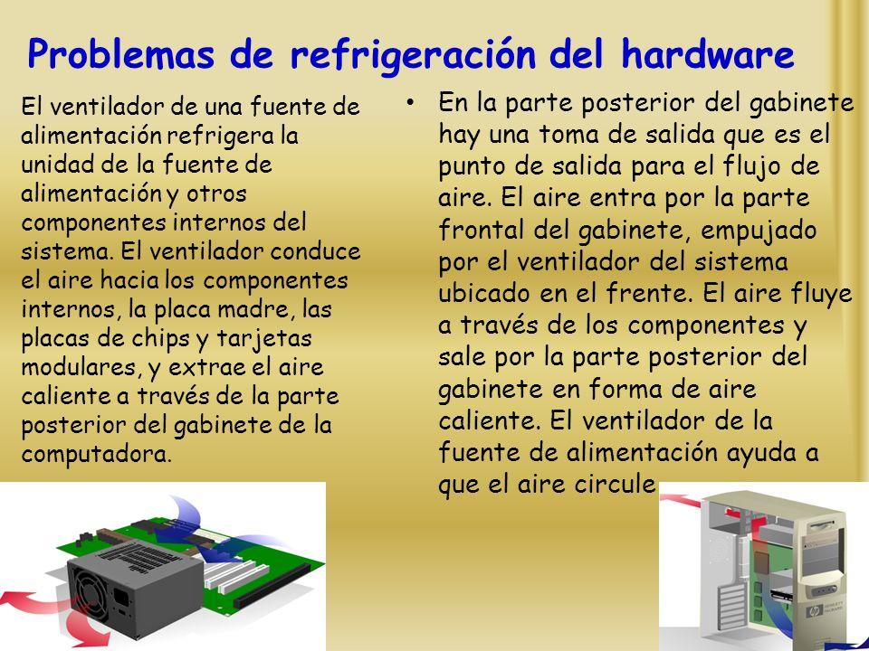 Problemas de refrigeración del hardware En la parte posterior del gabinete hay una toma de salida que es el punto de salida para el flujo de aire.