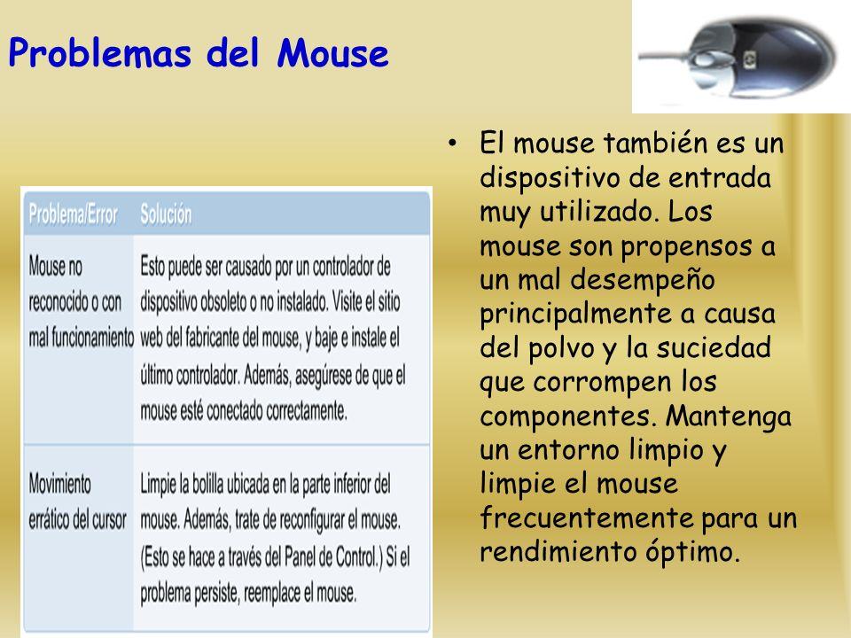 Problemas del Mouse El mouse también es un dispositivo de entrada muy utilizado.