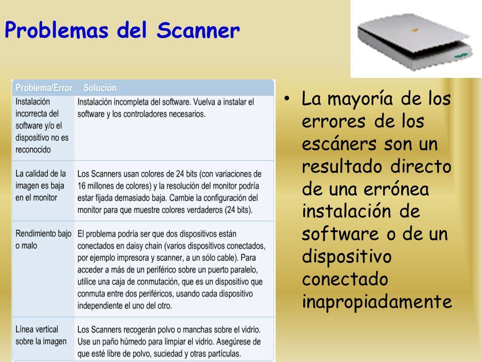 Problemas del Scanner La mayoría de los errores de los escáners son un resultado directo de una errónea instalación de software o de un dispositivo conectado inapropiadamente