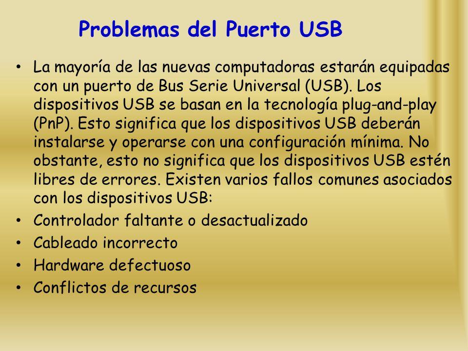 Problemas del Puerto USB La mayoría de las nuevas computadoras estarán equipadas con un puerto de Bus Serie Universal (USB).