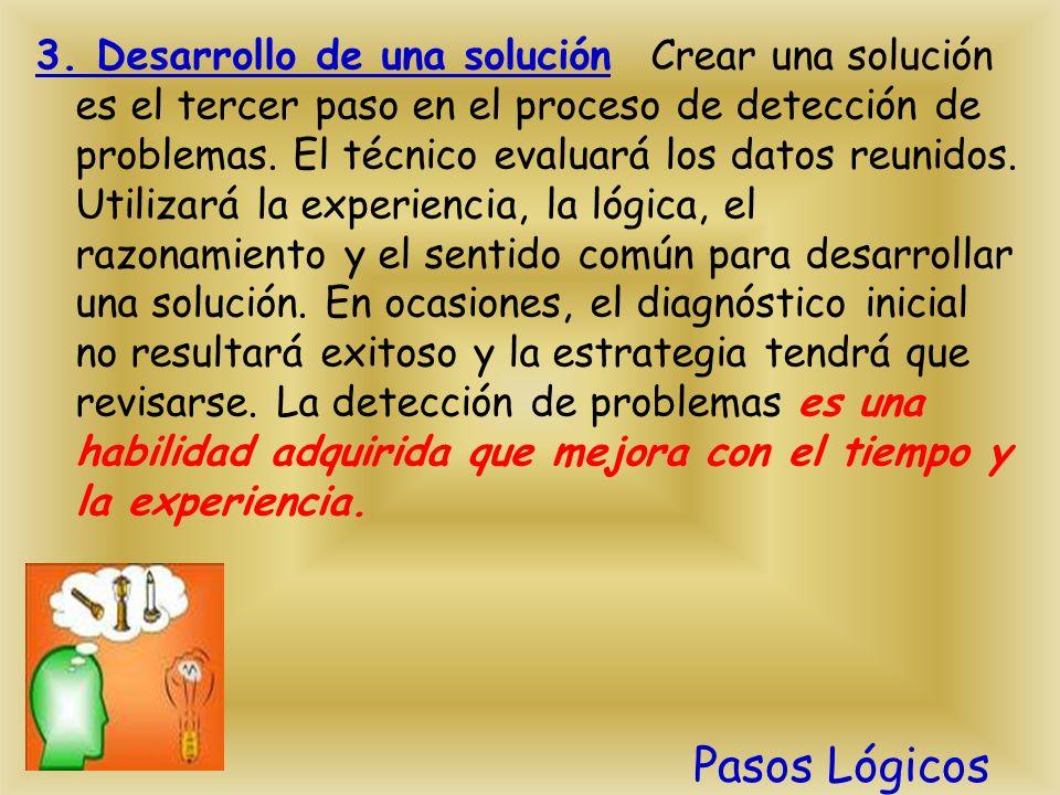 3. Desarrollo de una solución Crear una solución es el tercer paso en el proceso de detección de problemas. El técnico evaluará los datos reunidos. Ut