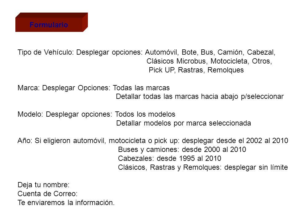 Formulario Tipo de Vehículo: Desplegar opciones: Automóvil, Bote, Bus, Camión, Cabezal, Clásicos Microbus, Motocicleta, Otros, Pick UP, Rastras, Remol