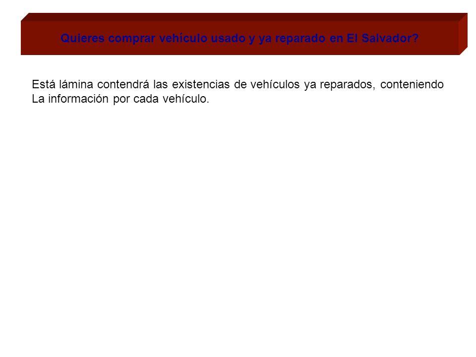 Quieres comprar vehículo usado y ya reparado en El Salvador? Está lámina contendrá las existencias de vehículos ya reparados, conteniendo La informaci