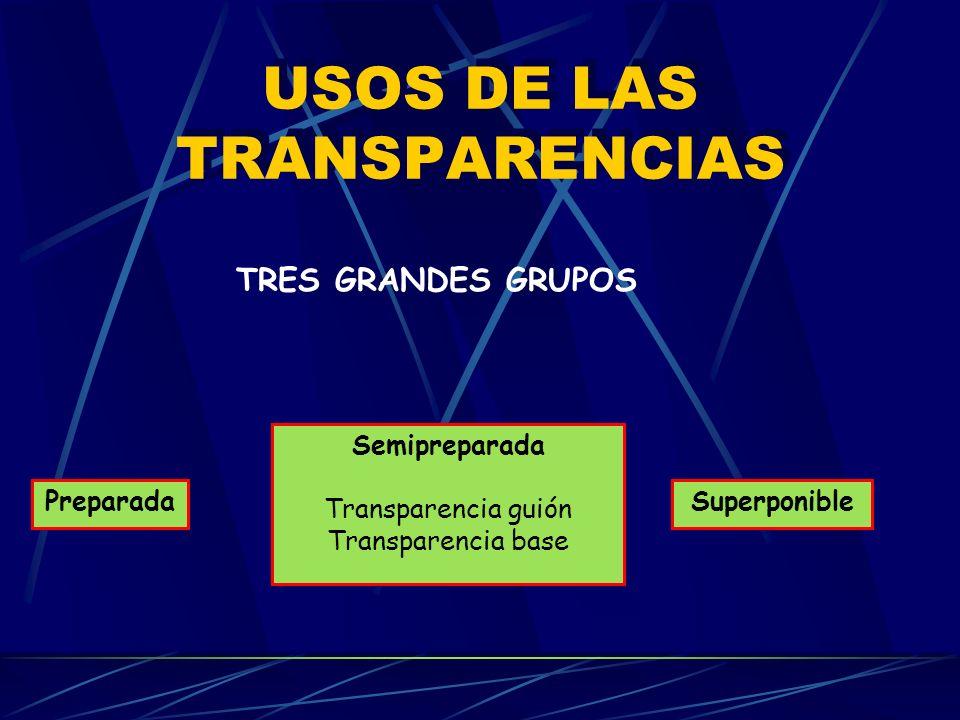 TÉCNICAS DE PRESENTACIÓN Altura conveniente Transparencias en orden Superficie de proyección orientada adecuadamente Encendido y apagado dirigen la at