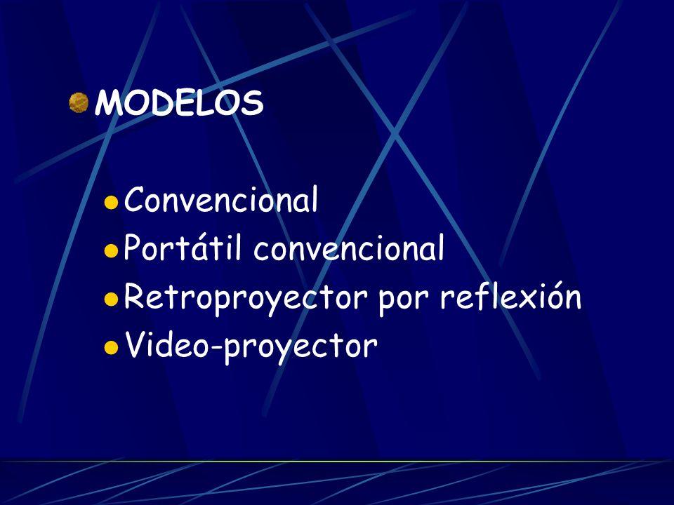 MODELOS Convencional Portátil convencional Retroproyector por reflexión Video-proyector