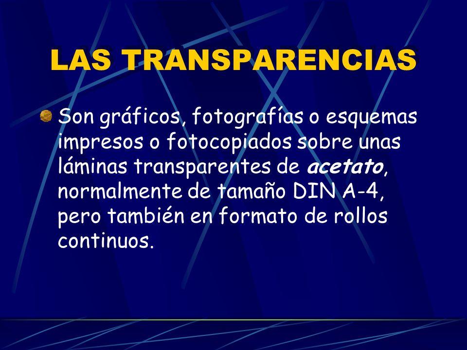 LAS TRANSPARENCIAS Son gráficos, fotografías o esquemas impresos o fotocopiados sobre unas láminas transparentes de acetato, normalmente de tamaño DIN A-4, pero también en formato de rollos continuos.