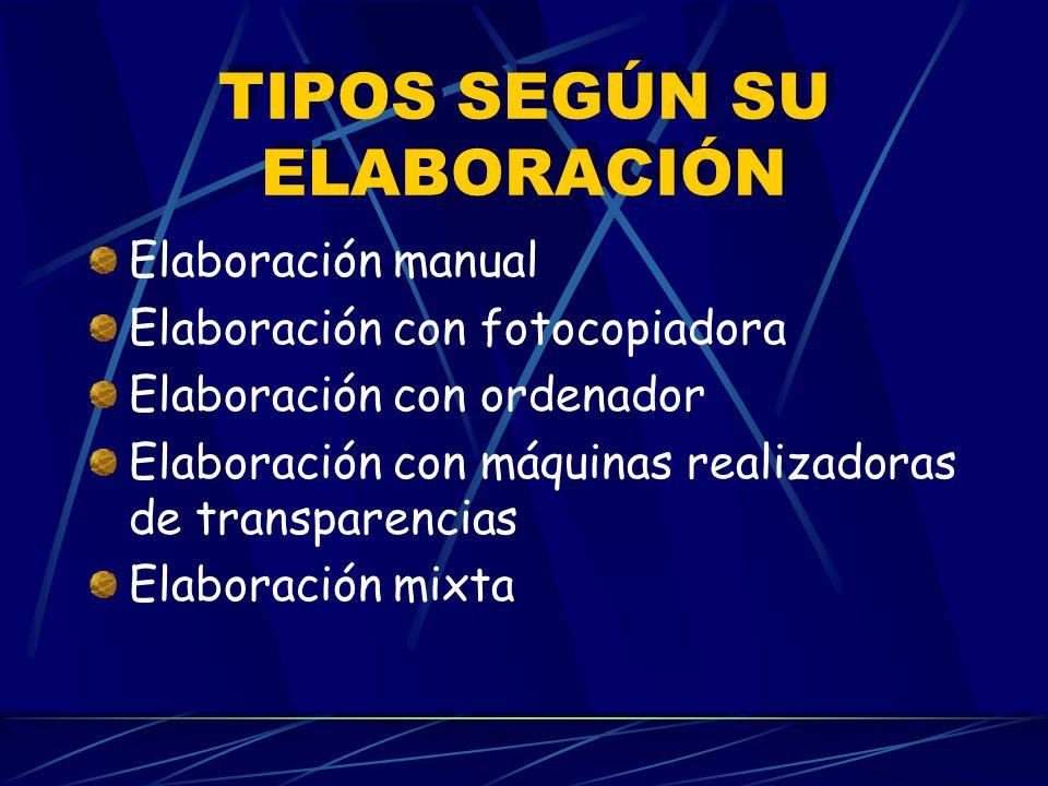 TIPOS SEGÚN SU ELABORACIÓN Elaboración manual Elaboración con fotocopiadora Elaboración con ordenador Elaboración con máquinas realizadoras de transparencias Elaboración mixta